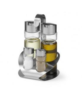 Garnitura 4-delna sol poper  olje in  kis 130x110x(h)185 steklo/cns 18/0
