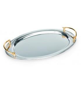Servirna plošča, oval 46x30 - 18/0 - pozlačen roč.