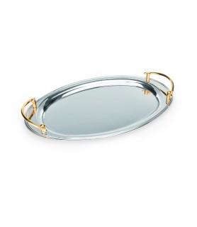 Servirna plošča, oval 56x33 - 18/0 - pozlačen roč.
