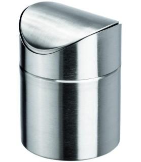 Namizni koš za odpadke - inox z nihalnim pokrovom 12,0x15,5 cm