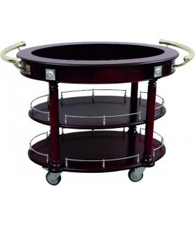 Servirni voziček oval lesen 120x65,5x82cm