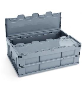 Pp transportna posoda s pokrovom 60x40x23cm siva