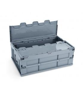 Pp transportna posoda s pokrovom 60x40x32cm siva