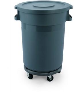 Hdpe posoda za odpadke na kolesih s pokrovom 120l siva