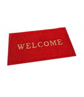 "Pvc predpražnik, rdeč 80 x 60 cm ""welcome"""